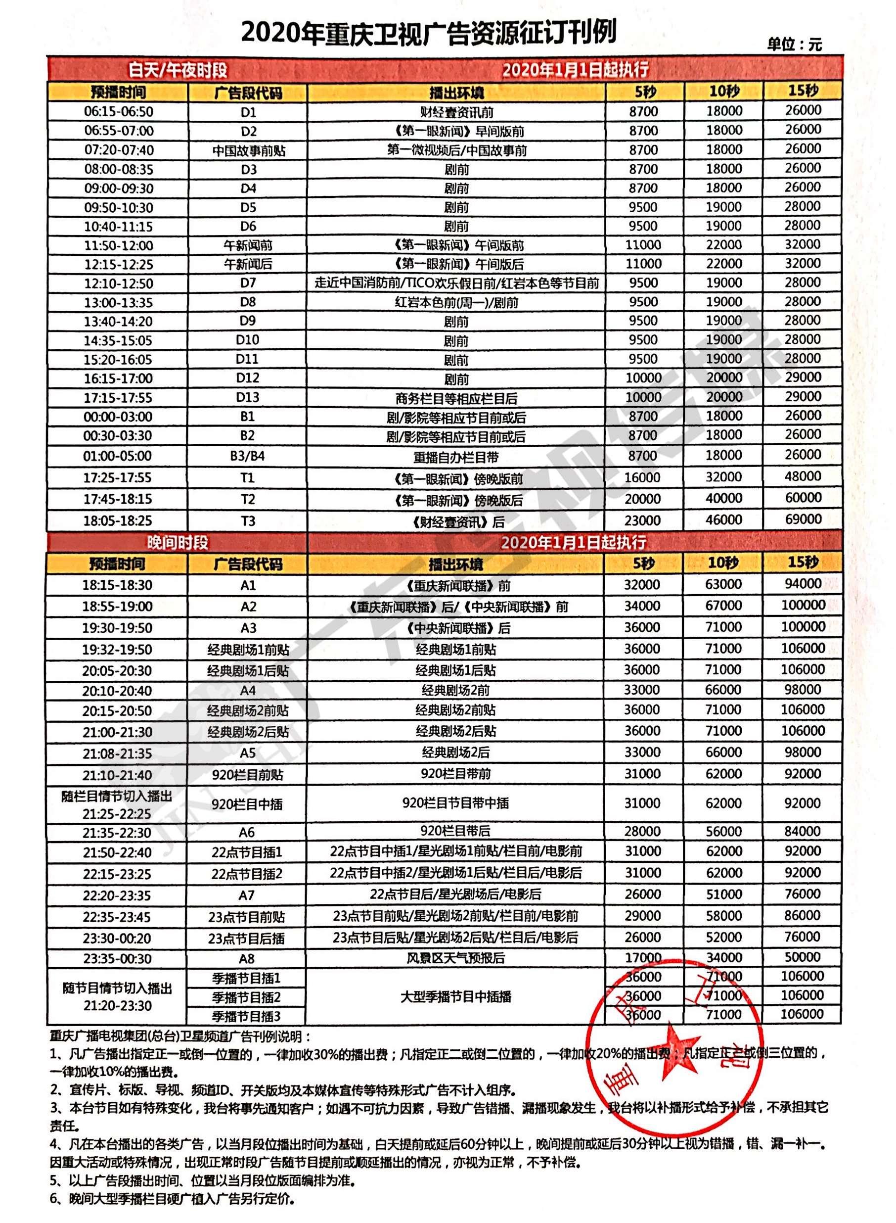 重庆卫视广告价格表